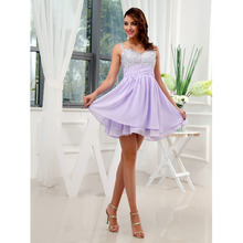 Custom Made Vestido De Festa Curto Lavender Chiffon Beading Shining Crystal Pleat Mini Cocktail Dress Short Prom Dress
