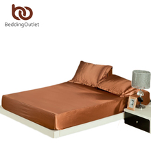 Fashion Fitted Sheet Light Coffee Bed Sheet Plain Solid Bedding Comfortable Silk Satin Coverlet drap de lit 1pc 3 Size