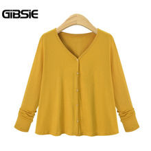 GIBSIE Plus Size Women Clothing 2017 Autumn Fashion V Neck Cardigan Big Size 4XL 5XL Women Casual Solid Button Sweater 2 Color(China)