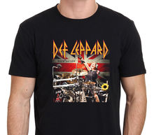 Letter Printing	Print O-Neck Short-Sleeve Tee Def Leppard Rick Allen Drummer Black T-Shirt Men's Size S-to-XXL