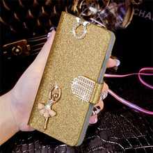 "Luxury Bling Liquid Glitter Cover For Meizu M2 Mini 5.0"" Blue Charm 2 Cover Flip PU Leather Phone Coque With Card Slot"