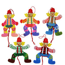 1Pcs Clown Toys Cute Wooden Pull String Puppet Children Funny Marionette Classic Joint Activity Gifts Random Styles