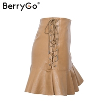 BerryGo Side lace up short lether skirt High waist streetwear ruffle mini skirt womens bottom 2017 New autumn mini skirts