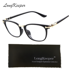 LongKeeper Sexy Glasses Frame Ladies Vintage Eyeglasses Frames Retro Men Eyewares Clear Lens Optical Oculos Black Transparent(China)
