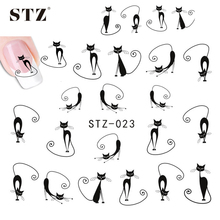 1sheets New HOT Selling Cat Long Tail Stickers Water Transfer Nail Art Decorations Nail Art Decals Patch Wraps Tools STZ023
