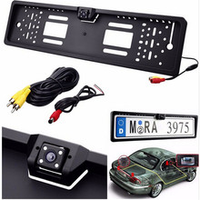 New Europe license plate frame 170 European Universla Car License Plate Frame Auto Reverse Rear View Backup Camera 4 LED(China)