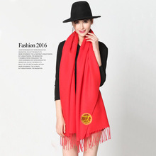New Fashion Women Men Red Scarf Artificial Cashmere Wool Big Tassel Long Big Scarf Winter Autumn Warm Celebrate Gift 200CM(China)