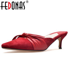 FEDONAS 1Fashion Women Slingbacks Pumps Suede Leather Summer High Heels  Shoes Woman Pointed Toe Butterfly Knot Casual Slippers 98304322f1d7