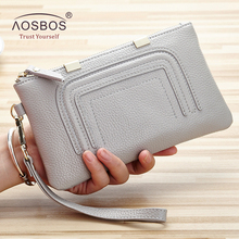 Aosbos Fashion Women Genuine Leather Wallets Cell Phone Card Holder Long Solid Ladies Purses High Quality Zipper Cards Wallet(China)