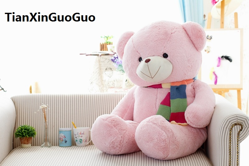 stuffed plush toy large 120cm pink teddy bear plush toy scarf bear soft doll throw pillow birthday gift w2937(China)