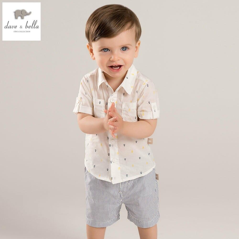 DB5094 dave bella summer baby boys clothing sets sailboat printed sets child sets infant clothes kids sets baby costumes<br>