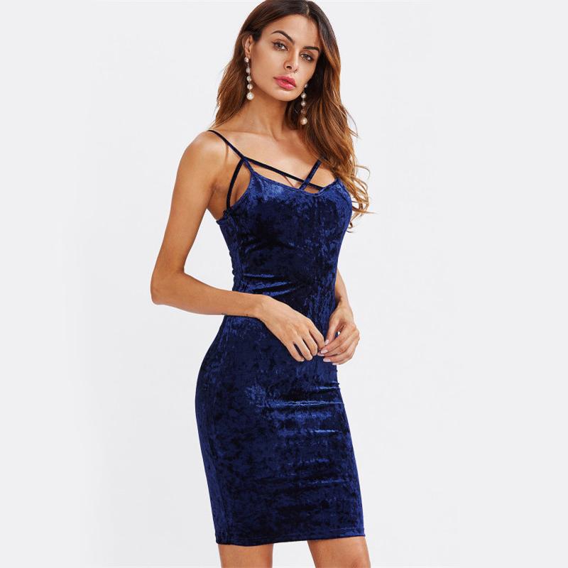 COLROVIE Strappy Cross Club Velvet Dress 2017 Women Royal Blue Fitting Bodycon Slip Summer Dresses Sexy Slim Elegant Midi Dress 8