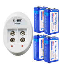 4 pieces/LITELONG Li-lon 880 mah 9 v battery rated voltage 9 v + 1 pcs smart 2 slot charger package free shipping
