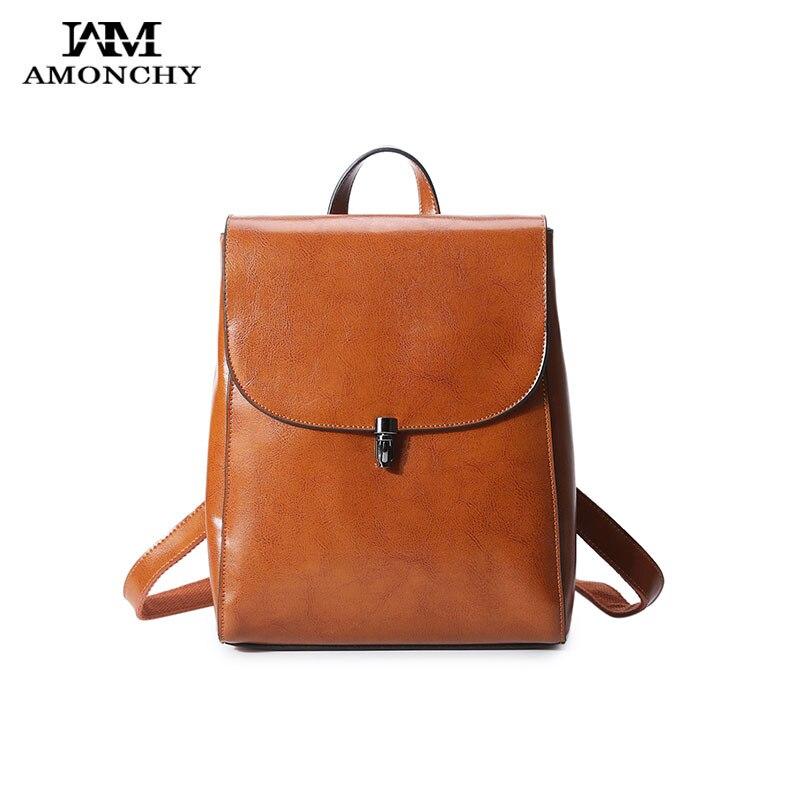 AMONCHY Brand Genuine Leather Women Backpacks Natural Skin Ladies Backpacks Casual Travel School Backpack College Female Bookbag<br>