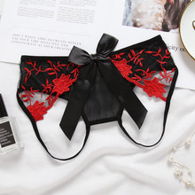 Buy Embroidery Sexy Panties Women's See Mesh Open Crotch Lace Thongs G Strings Erotic Lingerie Sexy Crotchless Underwear