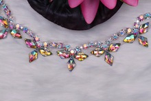 Free Shipping 5 yards Crystal Rhinestone Trim, Rhinestone Applique, Wedding Applique,Rhinestone Chain MALI067