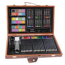 84pcs Children Painting Set Drawing Brush Elementary Water Color Pen Art Markers Wood Box Set(China)