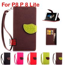 Leaf Clasp Buckle PU Leather Flip Clamshell Book Wallet Phone Cell Mobile Case kryty Cover Cove For Huawei P8  Lite Brown