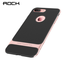 Slim Case for iphone 7 Case Rock Luxury Royce Series Jet Black Case for Apple iphone 7 TPU+PC Anti-knock Back Cover(China)