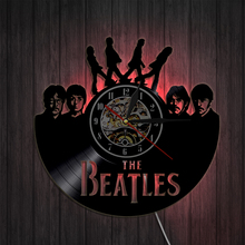Free Shipping 1Piece The Beatles Retro Vinyl Record Clock Home Design Home Decor Led Light Vinyl Record Wall Clock Wall Art