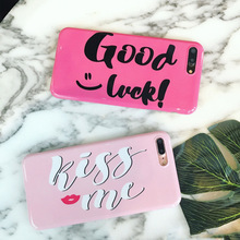 "LOVECOM Phone Case For iPhone 6 6S 7 Plus Fashion ""Good Luck"" ""Kiss me"" Letter Glaze Soft IMD Phone Back Cover Cases Best Gift"