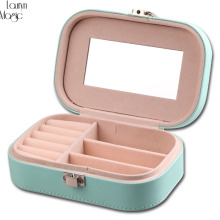 Fashion Cosmetic Leather Jewelry Box Necklace Ring Storage Case Organizer Display for traveling