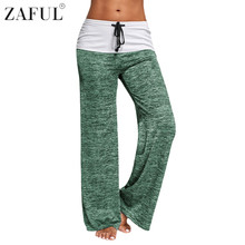 ZAFUL Women Yoga Pants Sports Exercise Fitness Running Jogging Trousers Foldover Heather Wide Leg Plus Size Workout Sport Pants