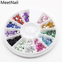 12 Colors Nail Rhinestones 2mm Acrylic Nail Art Rhinestones Decoration For UV Gel Phone Laptop DIY Nail Tools(China)