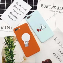 Lovely Cartoon Cat Eat Noodle Case For iphone 7 Case Hard Plastic Bulb Mobile Phone Bags For iphone 6 6s 7 Plus Back Covers Skin(China)