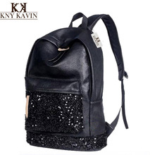 KNY KAVIN Women Backpack Big Capacity Embroidered Sequins Backpack Girls Leather Backpack School Shoulder Bags New 2017 Fashion(China)