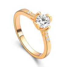 SHUANGR Romantic Wedding Crystal Rings Gold Color Small Cubic Zircon Womens Fashion Jewellery Ring Full Size Anillos