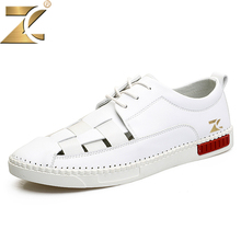 ZEACAVA 2017 summer new fashion non-leather flat outdoor casual breathable white shoes men's solid lace-up walking daily shoes