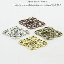 Sweet Bell 30pcs/lot Four color Hollow Filigree Flower Charm Jewelry Connectors 24*41mm Vintage Filigree Jewelry Findings D0432