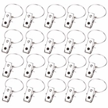 20Pcs/pack Window Shower Curtain Rod Clips Rings Stainless Steel Drapery Clips Curtain Accessorries Home Supplies(China)