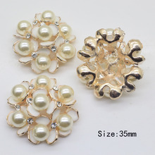 10pcs/lot Round pearl buttons rhinestone metal buttons wedding party decor DIY clothing sewing accessory