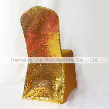 Gold Sequins Back Banquet Size Lycra Chair Cover 20PCS For Wedding,Party,Hotel Use(China)