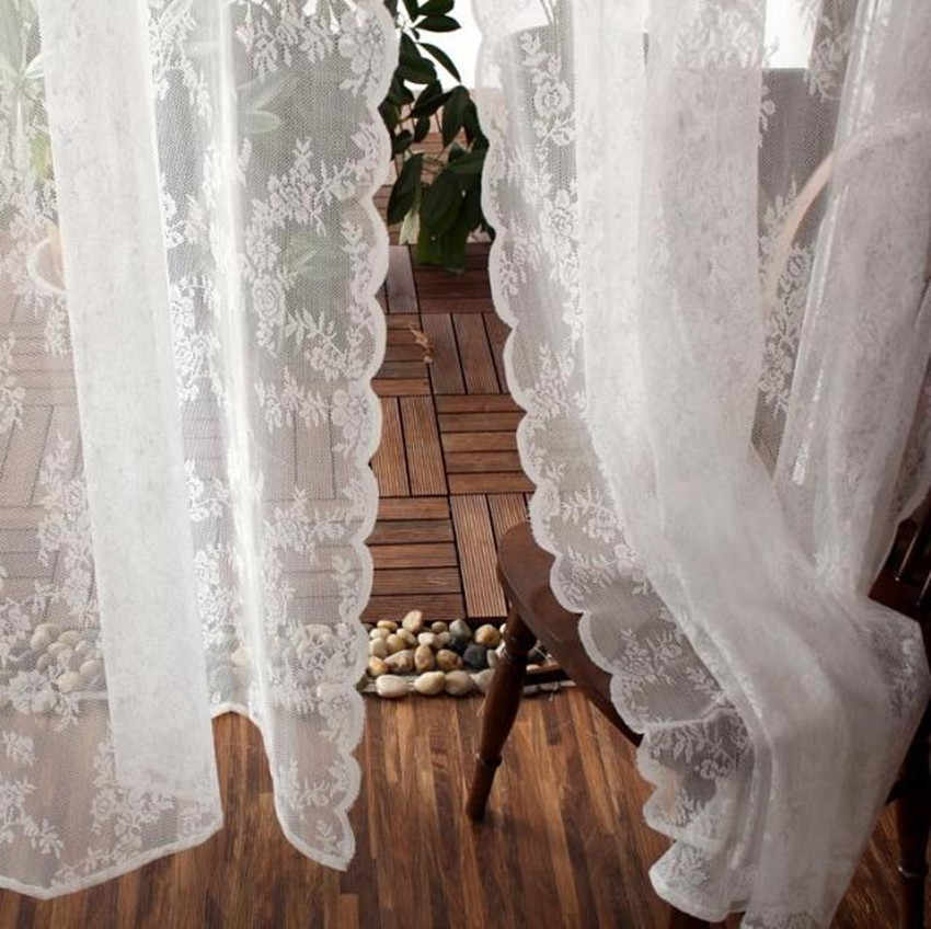 Korean Priness Style White Lace Tulle Embroidered Floral  Finished Curtain  Living-room/balcony Decorative Tulle Curtain