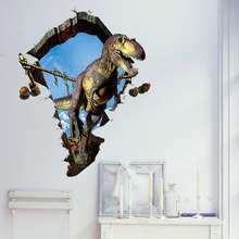 Foreign Trade Explosion Models Creative Cartoon Dinosaur Wall Stickers 3D Stereoscopic Effects Holes Removable Sticker