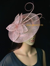 2017 NEW Blush pink big Sinamay fascinator hat with long ostrich spine kentucky derby ,wedding party(China)