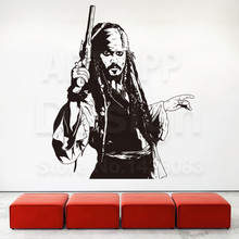Good quality art new design Pirate home decoration Captain jack vinyl wall sticker removable creative Sparrow decals in rooms