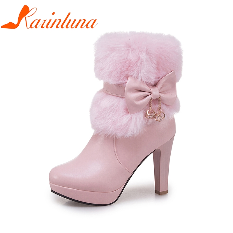 KARINLUNA 2018 Large Size 32-43 Sweet Bow Platform High Heels Woman Ankle Boots Fashoin Autumn Winter Shoes Boot Women