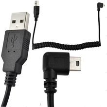 WEMECOFA New 5Ft Spiral Coiled USB MINI 5Pin 5P right angle Male to USB 2.0 A male plug Cable