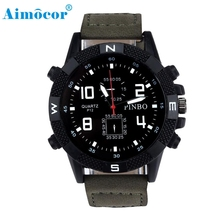 2017 Newly Designed Luxury Men's Canvas Strap Large Dial Military Sport Quartz Wrist Watch Gift 324