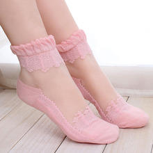 1Pair Women Lace Ruffle Ankle Sock Soft Comfy Sheer Silk Cotton Elastic Mesh Knit Frill Trim Transparent Ankle Socks DP676971