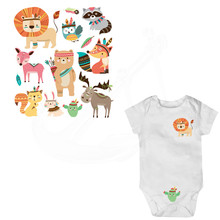 Indian style Cartoon tiger, fox, bird Baby stickers 20*19cm iron on patches DIY child patch on clothes jacket thermal transfer(China)