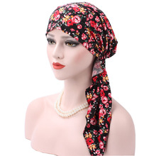 Women Cotton floral print head wrap vintage for Women Baby Head Floral flower head cap spot Bandanas Women's Headwrap Turban(China)