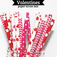 125pcs Mix Colors Valentines Paper Straws,Red Hot Pink Heart,Deep Pink Chevron Swiss Dot,Red Polka Dot,Wedding Birthday Party