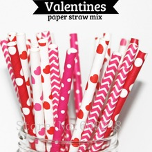 125pcs Mix Colors Valentines Paper Straws,Red Hot Pink Heart,Deep Pink Chevron Swiss Dot,Red Polka Dot,Wedding Birthday Party(China)