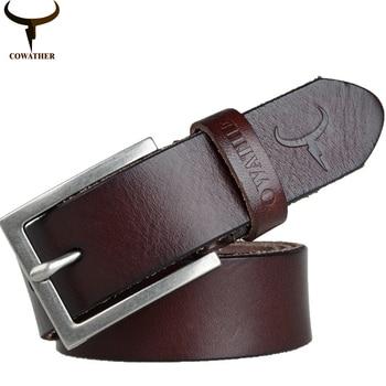 [Cowather] 2016 de alta calidad 100% top cow cuero genuino de los hombres cinturones para hombres estilo de moda pin hebilla de correa masculina envío gratis
