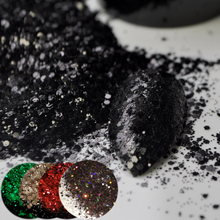 True Black Sequins Dust DIY Nail Glitter Powder Mix Size Nail Art Designs Red Brown Black Acrylic UV Mix Glitter Powder